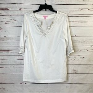 Lily Pulitzer White Beaded V-Neck Tunic Top